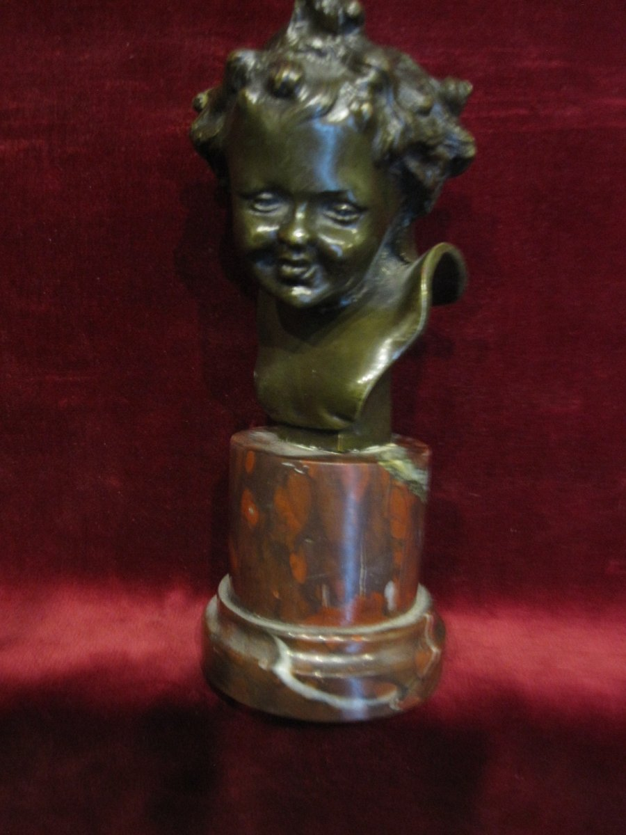 Small Bust Of A Child. Bronze And Marble. Signed C. Clovu. Nineteenth Century