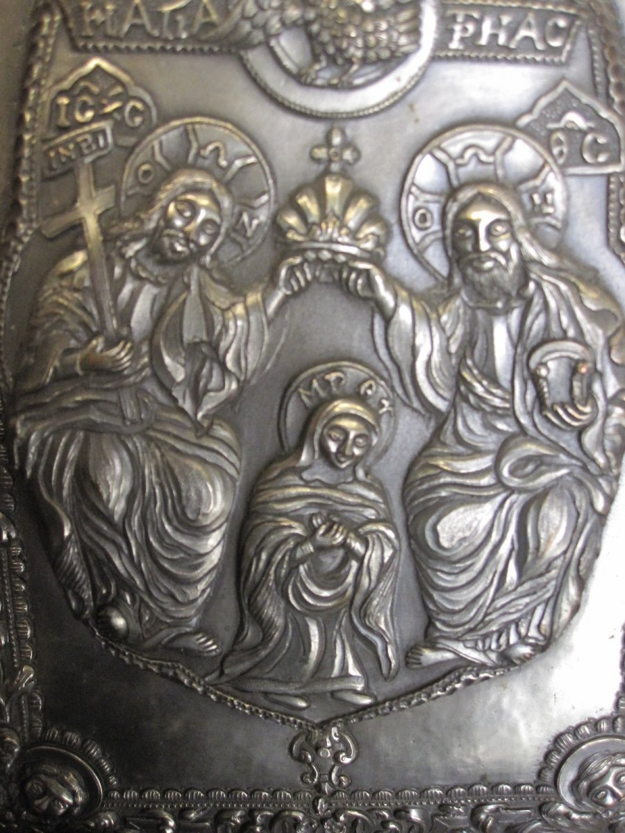 Orthodox Icon: Coronation Of The Virgin By The Holy Trinity-photo-1