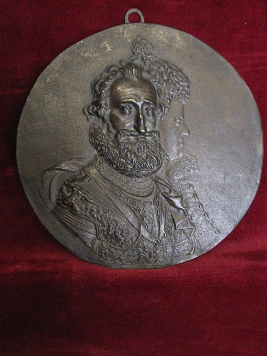 Guillaume Dupré: Henri IV Et Maria De Medicis. Tondo En Bronze Du S. XVII