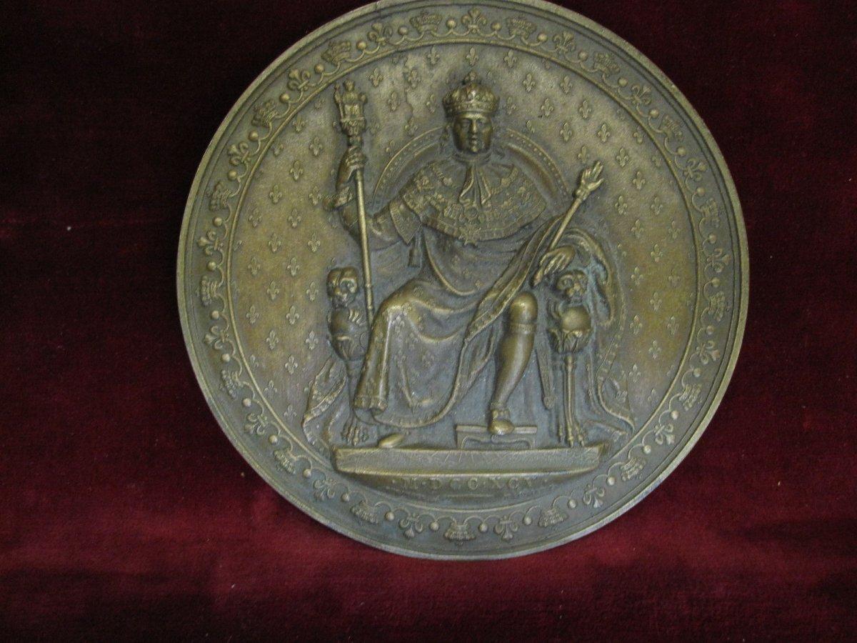 Luis XVIII Enthroned, Mdccxcv (1795) Large Unifazed Medallion In Bronze. 12 Centimeters-photo-2