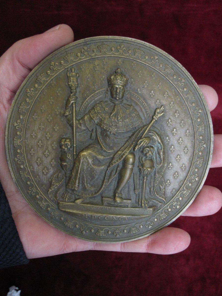 Luis XVIII Enthroned, Mdccxcv (1795) Large Unifazed Medallion In Bronze. 12 Centimeters-photo-4