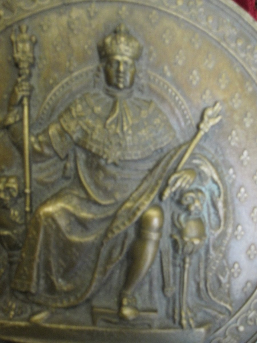 Luis XVIII Enthroned, Mdccxcv (1795) Large Unifazed Medallion In Bronze. 12 Centimeters-photo-1