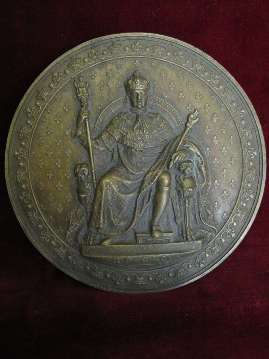 Luis XVIII Enthroned, Mdccxcv (1795) Large Unifazed Medallion In Bronze. 12 Centimeters