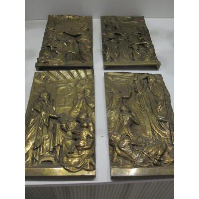 Quatre Reliefs En Bronze Avec Des Passages Du Livre De l'Exode. Italie S. XVII