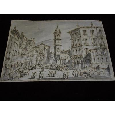 Paysage Architectural d'Italie, Dessin à La Plume Et à La Gouache Du XVIIIe Siècle