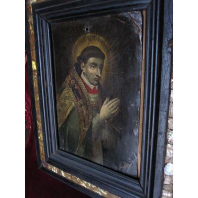 Portrait d'Un Ecclésiastique Vêtu d'Une Cape Pluviale. Huile Sur Cuivre