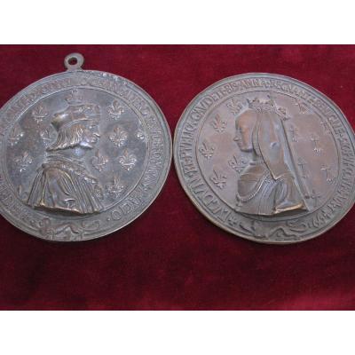 Luis XII De France Et Ana De Bretagne Grandes Plaques de la medailles de la ville de Lion