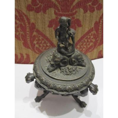 Encrier En Bronze Italien, Au GoÛt De La Renaissance, XVIIIe-xixe SiÈcles
