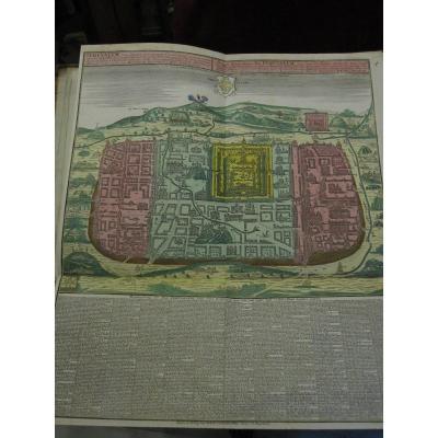 Grande Carte De Jérusalem. Mateo Seutter 60 X 51 Cm. Coloré De l'époque