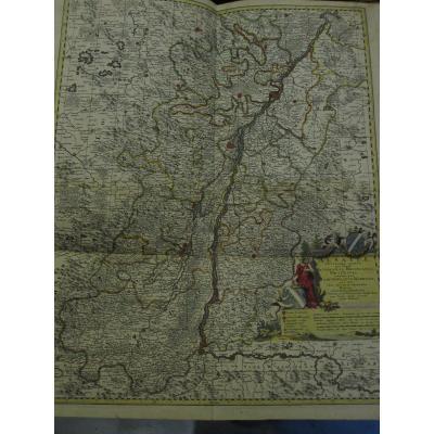 Grande Carte d'Alsace. Par Nicolaun Visscher 60 X 49 Cm. Coloré De l'époque