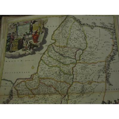 Grande carte de la Palestine et d'Israël. par Theodorus Danckerts 53 X 58 cm. coloré de l'époqu
