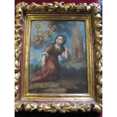 Saint Barbara. Oil On Copper From The First Half Of The Eighteenth Century. Sign