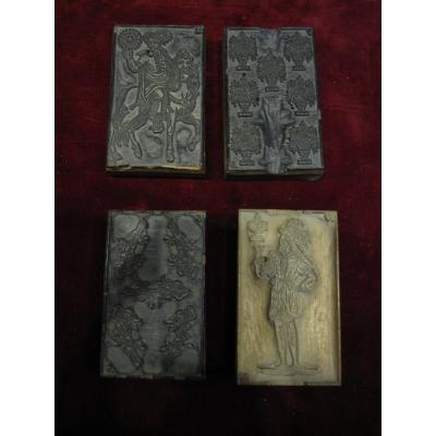 Four Woodblocks For Making Cards. Spain End Of The 18th Or Beginning Of The 19th Century