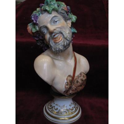 Figure Of Bacchus Or Satyr Porcelain By Capo Di Monti. S. XIX