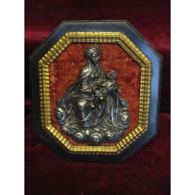 Virgin With Child In Silver Bronze. Probably Italian. 16th Or 17th Century