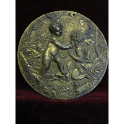 Tondo Or Medallion In Cast Bronze And Chiseled. S. XVI Or XVII. Child Jesus And San Juan