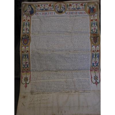 Important MiniÉ Document On Parchment By Clement VIII. Year 1595