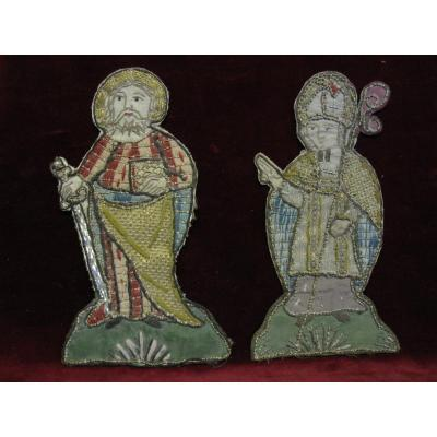 Saint Paul And A Bishop: Pair Of Embroidery In Silk And Gold Threads From The 17th Century
