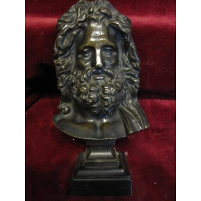 Head Of Zeus: Superb Bronze Sculpture. Nineteenth Century. Signed With The Initials Hp