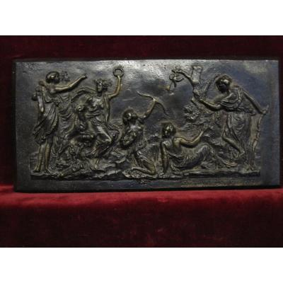 Bronze Bas-relief With Mythological Scene, Signed Barbedienne In 1859