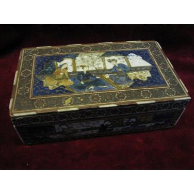 Persian Box With Inlays And Scenes Painted In Ivory Or Bone. Cajar Era