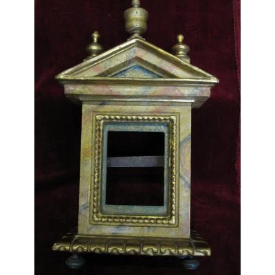 Polychrome Wooden Tabernacle-shaped Frame From The S. XVII Or XVIII