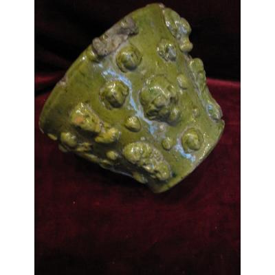 Rare Mortier En Céramique émaillée Verte. Espagne, Région Du Levant. 17e Ou 18e Siècle