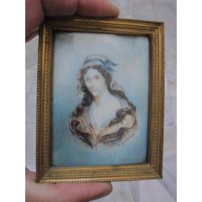 Charlotte Corday. 18th Century Miniature On Ivory