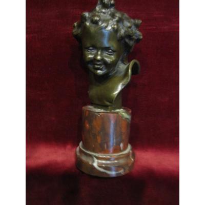 Petit Buste d'Enfant. Bronze Et Marbre. Signé C. Clovu. XIXème Siècle