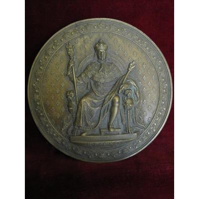 Luis XVIII Enthroned, Mdccxcv (1795) Grand MÉdaillon Unifazed En Bronze. 12 CentimÈtres