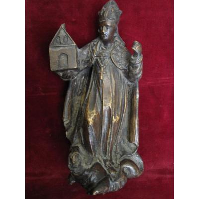 Évêque Fondateur: San Agustin? Sculpture Sur Bois Du S. XVII