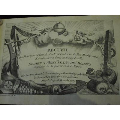 PLANS DES PORTS ET RADES DE LA MER MEDITERRANIE. 1779. Bel atlas avec 124 gravures