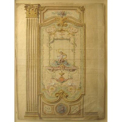 Decoration Project. 18th Century Watercolor Drawing.