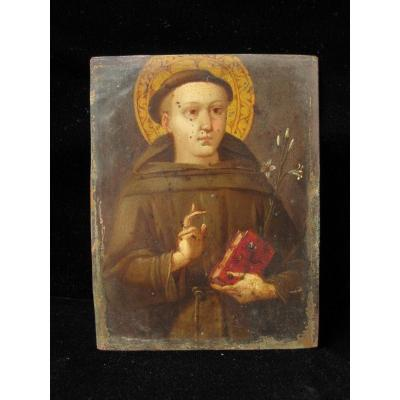 Saint Franciscan. Oil On Copper. Italy XVIth Century
