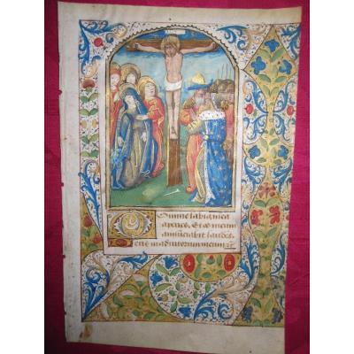 Feuille Miniature d'Un Livre d'Heures Avec Une Scène De La Crucifixion. Atelier De Bruges, S.xv