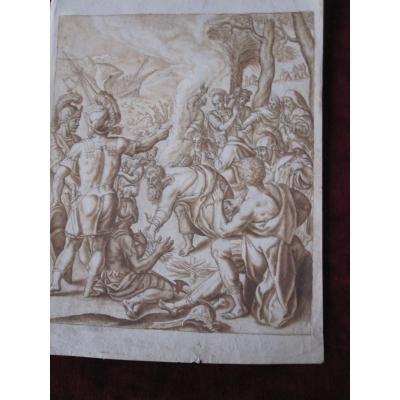Le Nufragio d'Enée. Dessin à l'Encre Et Lavis Signé Peter Van Lint. S. XVII