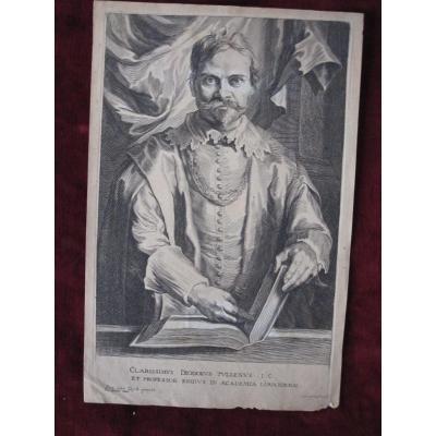 Diodoro Tuldeno. Portrait Of Van Dyck, Copper Engraving By Pieter De Iode.