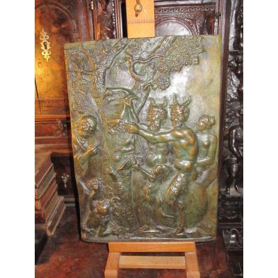 Grand Relief En Bronze Avec Une Scène Complexe Et énigmatique.  Du XVIIe Siècle?