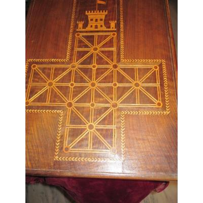 Marquetry Game For Checkers And Castle Assault. With Its Turned Wood Shavings
