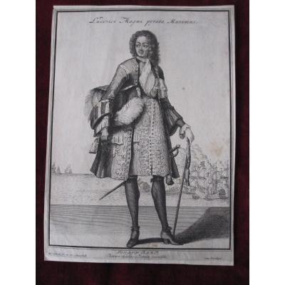 Rare Gravure Sur Cuivre, XVIIIe Siecle: Pirate Johann Bart