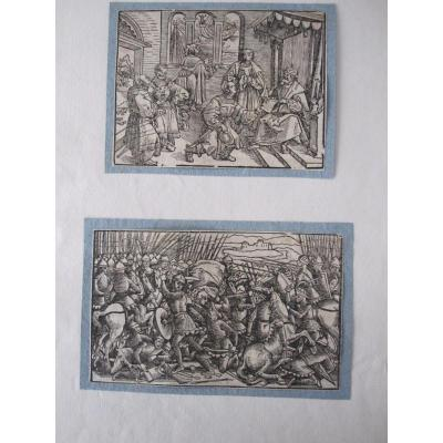 Two Beautiful Woodcuts. Germany 16th Century. Mounted On An Old Collector's Folio