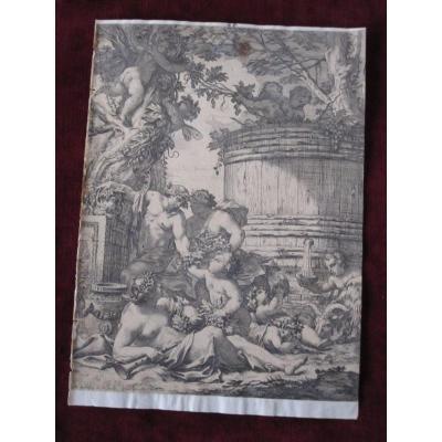 Scène Bacchanale. Gravure Sur Cuivre Du S. XVII. Signé M. Dorigny
