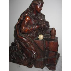 Marie-madeleine. Sculpture  En Bois. Flandre : Première Moitié Du XVIIe Siècle