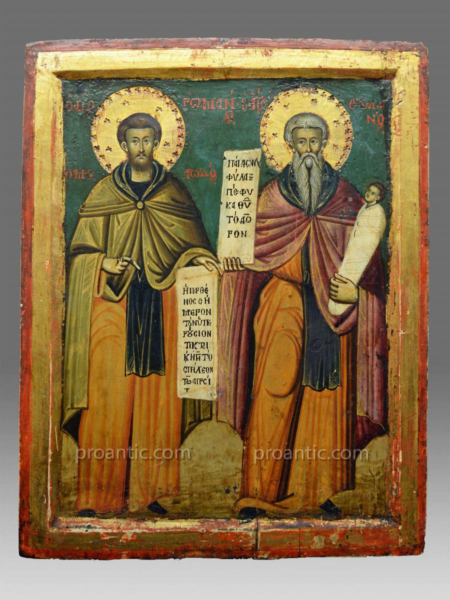 Small Greek icon in 1700 with Saint John and Saint Stylianos icon original condition