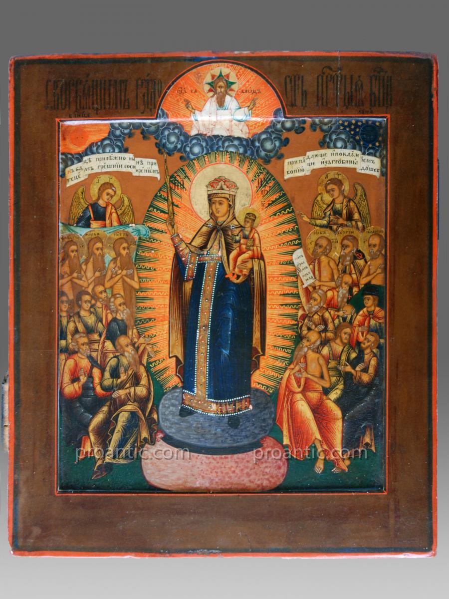 Icône de la Vierge Russie 19 ème siècle - Icon Icone Ikone