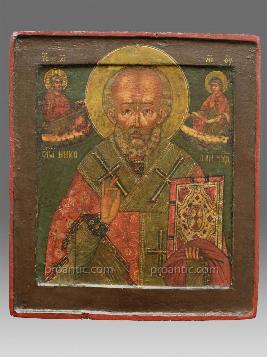 Icône de Saint Nicolas Vers 1800 Russie Du Nord - Icon Icone Ikone