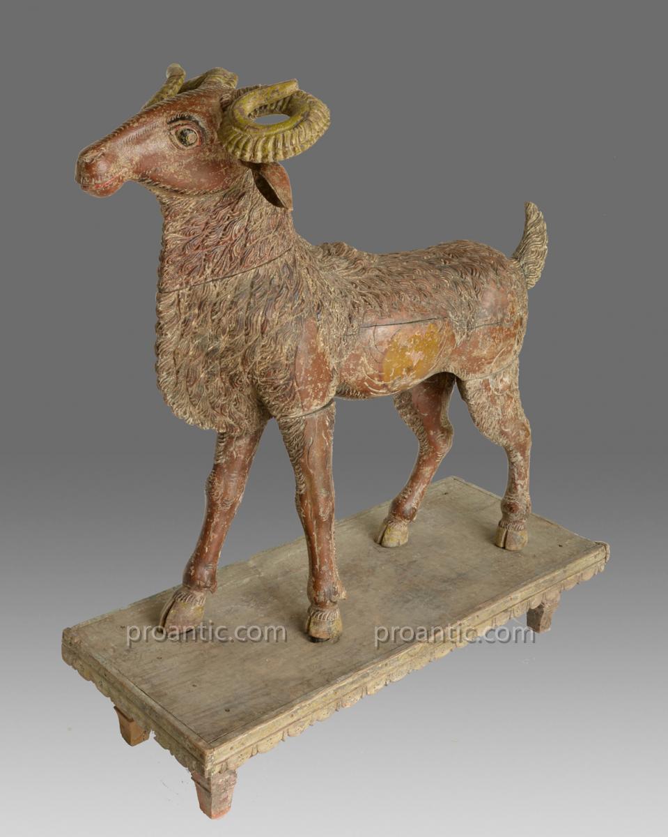 Gazelle Et Ram 19 ème Siècle Inde Du Sud
