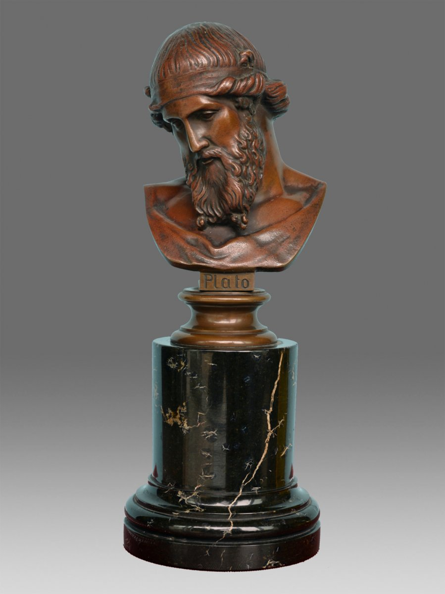 Bronze Bust Of Plato On A Black Marble Column / 19th Century