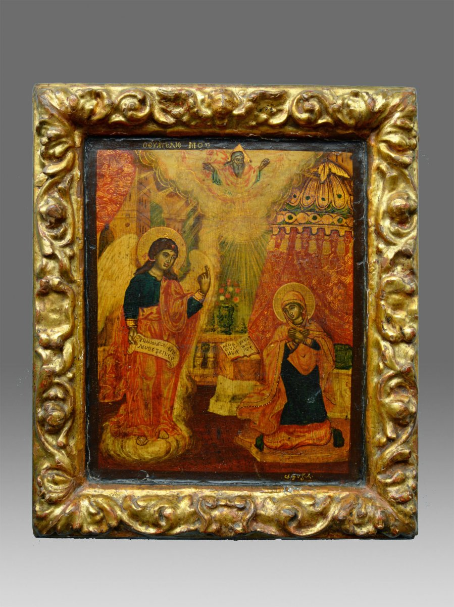 Greek Icon Of Maria's Proclamation About 1750 - Icon Icone Ikone
