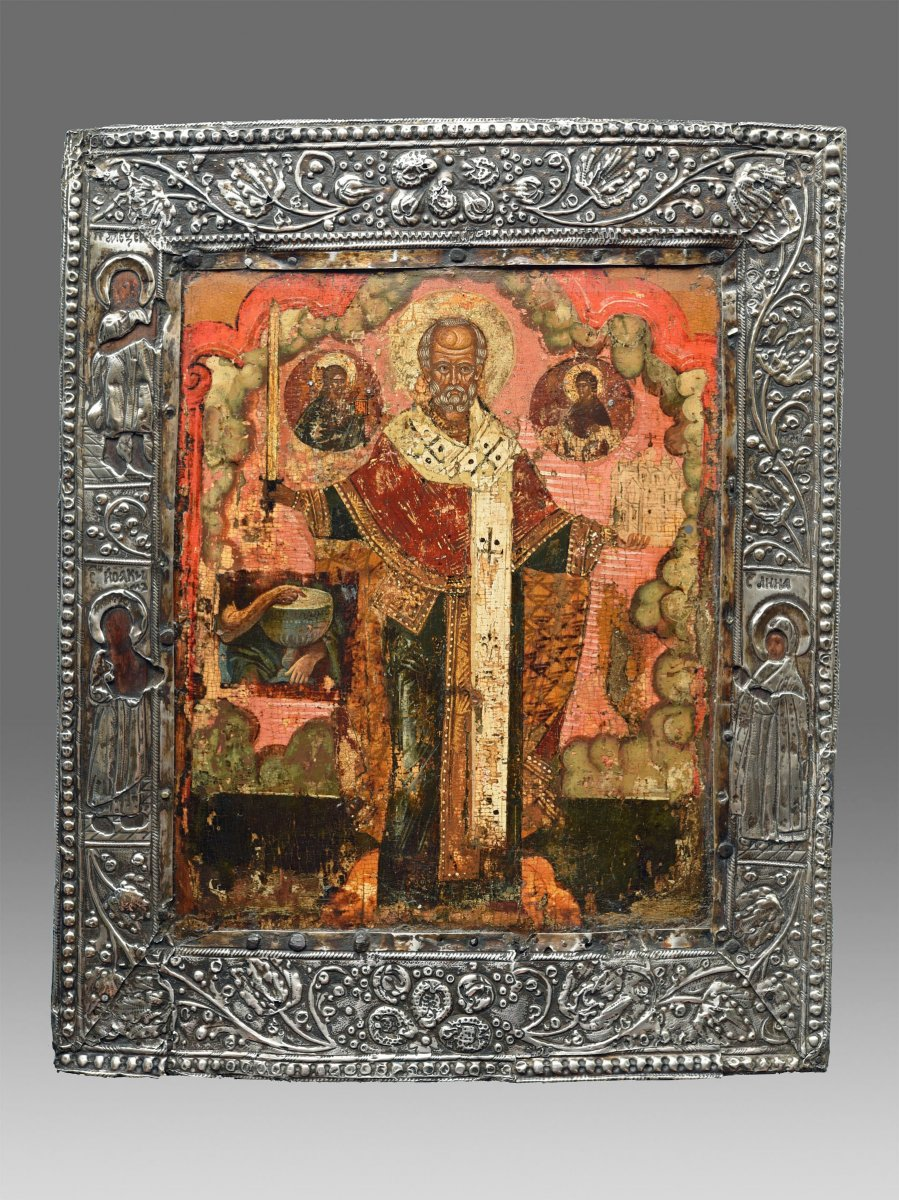 Icon Of Saint Nicolas Moschaijsk About 1750 Moscow Russia - Icon Icone Ikone